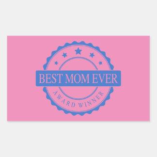 Best Mom Ever - Winner Award - Blue Rectangular Sticker