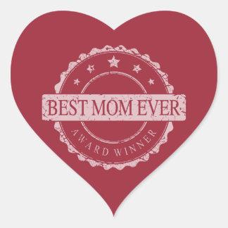 Best Mom Ever - Winner Award - Grunge Heart Sticker