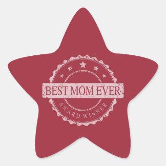 Best Mom Ever - Winner Award - Grunge Star Stickers