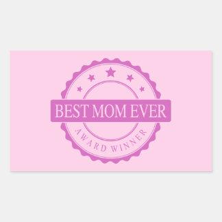 Best Mom Ever - Winner Award - Pink Rectangle Sticker