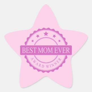 Best Mom Ever - Winner Award - Pink Star Sticker