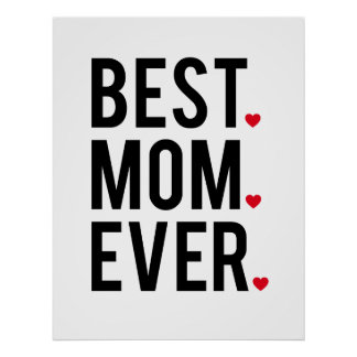best mom ever, word art, text design, red hearts poster