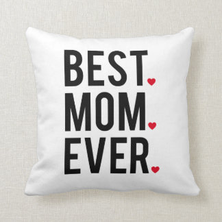 best mom ever, word art, text design, red hearts throw pillow