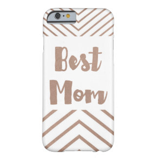 Best Mom Faux Rose Gold Stripe Template Barely There iPhone 6 Case