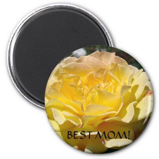 BEST MOM Gift Magnet Yellow Rose Flower Magnets