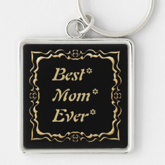 Best Mom Gold Frame Silver-Colored Square Keychain