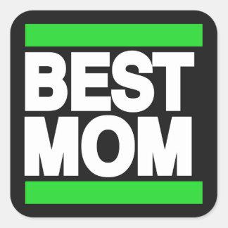 Best Mom Green Square Sticker