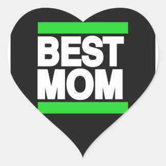 Best Mom Green Heart Sticker