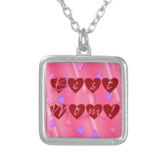 Best Mom in Hearts Silver Plated Necklace