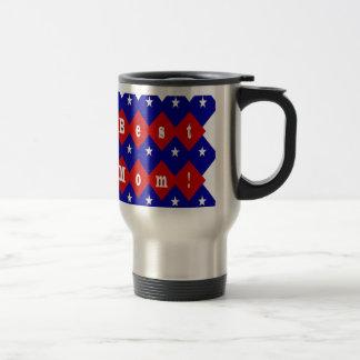 Best Mom in Patriotic Diamond Shape Travel Mug