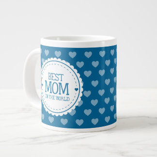 Best Mom in the World Blue White Hearts and Circle Large Coffee Mug