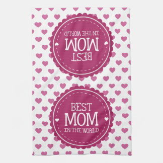 Best Mom in the World Pink Hearts and Circle Hand Towel