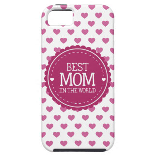 Best Mom in the World Pink Hearts and Circle iPhone SE/5/5s Case