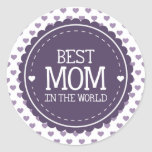 Best Mom in the World Violet Hearts and Circle Classic Round Sticker