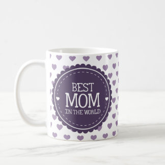 Best Mom in the World Violet Hearts and Circle Classic White Coffee Mug