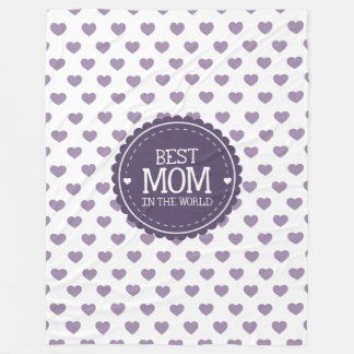 Best Mom in the World Violet Hearts and Circle Fleece Blanket