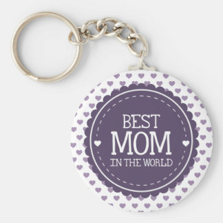 Best Mom in the World Violet Hearts and Circle Key Chain