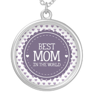 Best Mom in the World Violet Hearts and Circle Silver Plated Necklace