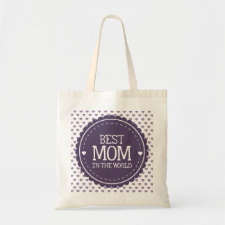Best Mom in the World Violet Hearts and Circle Tote Bag
