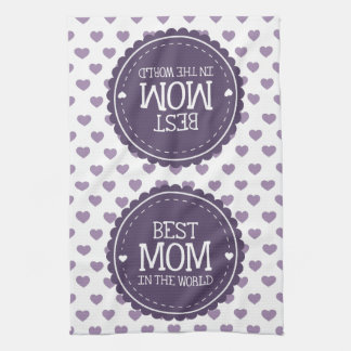 Best Mom in the World Violet Hearts and Circle Towels