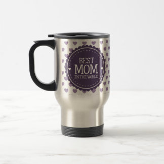 Best Mom in the World Violet Hearts and Circle Travel Mug