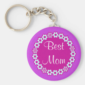 Best MOM Keychain Pink and Purple Floral Design