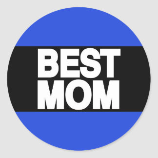 Best Mom Lg Blue Classic Round Sticker