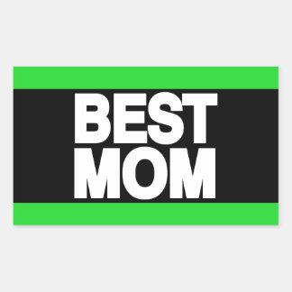 Best Mom Lg Green Rectangular Sticker