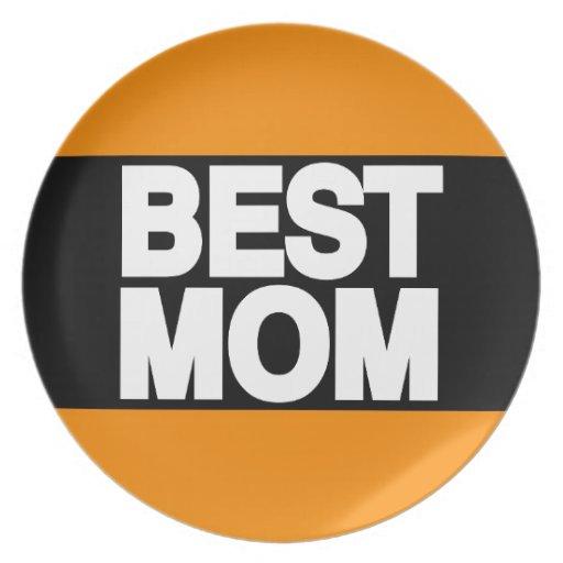 Best Mom Lg Orange Party Plates
