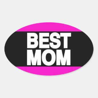 Best Mom Lg Pink Oval Sticker