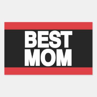Best Mom Lg Red Rectangular Sticker