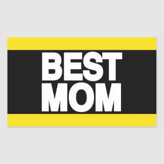 Best Mom Lg Yellow Rectangular Sticker