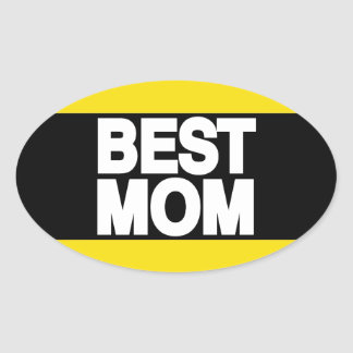 Best Mom Lg Yellow Oval Stickers