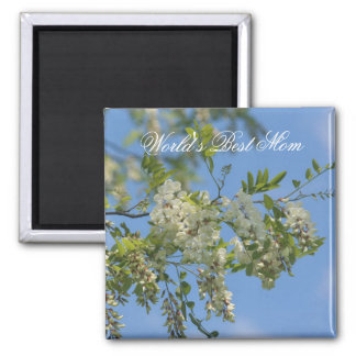 Best Mom Locust Blossoms Flower Photo Magnet