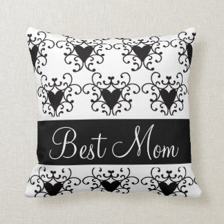 Best Mom Mother's Day Black Hearts Swirls Throw Pillow
