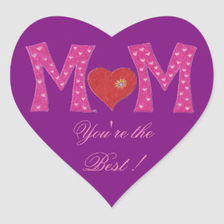 Best Mom , Mother's Day heart purple stickers