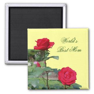 Best Mom Red Roses Flower Photo Magnet