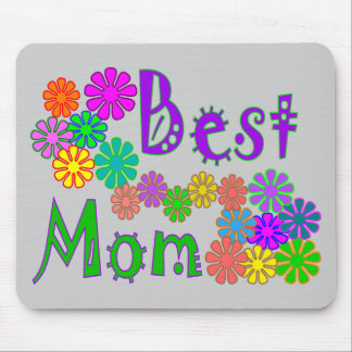 """""""Best MOM""""  Retro Flowers Mother's Day Gifts Mouse Pad"""
