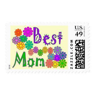 """""""Best MOM""""  Retro Flowers Mother's Day Gifts Postage Stamps"""