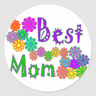 """""""Best MOM""""  Retro Flowers Mother's Day Gifts Classic Round Sticker"""