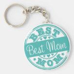 Best mom - rubber stamp effect- basic round button keychain