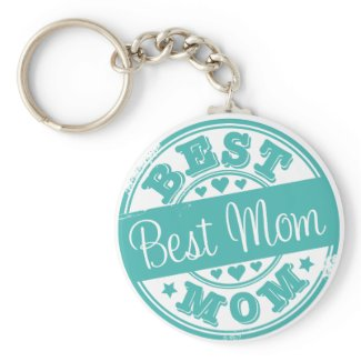 Best mom - rubber stamp effect- zazzle_keychain