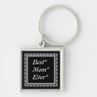 Best Mom Silver Frame Silver-Colored Square Keychain
