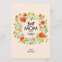 Best Mom Since Watercolor Floral Card