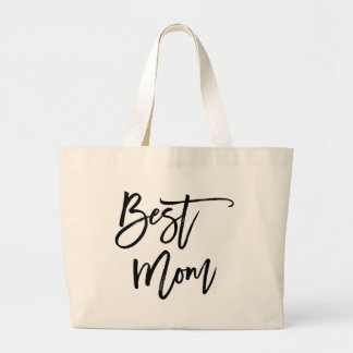 Best Mom Trendy Lettering Large Tote Bag