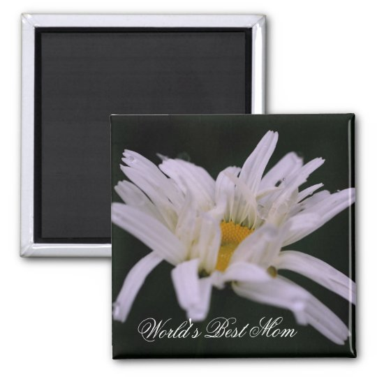 Best Mom White Daisy Flower Photo Magnet