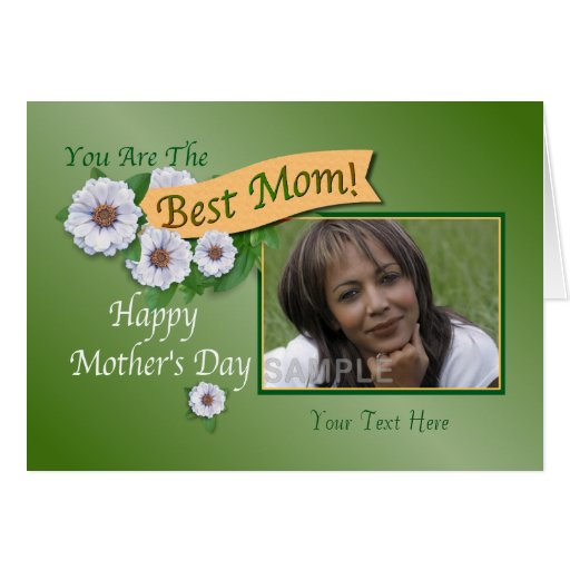 Best mom white zinnias custom photo greeting card zazzle for Best personalized christmas cards