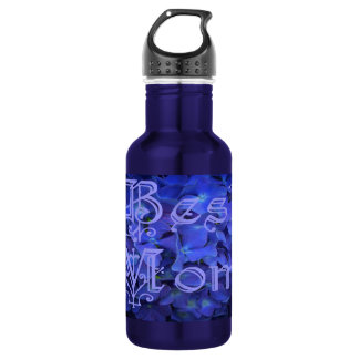 Best Mom with Blue Flower Background Water Bottle
