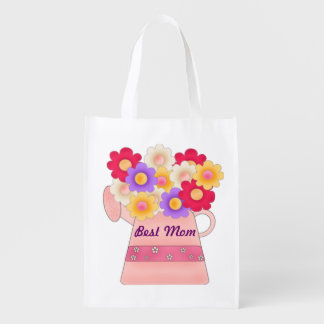 Best Mom With Flower Pot Grocery Bag