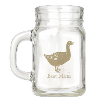 Best Mom with Golden Farm Goose Silhouette Mason Jar